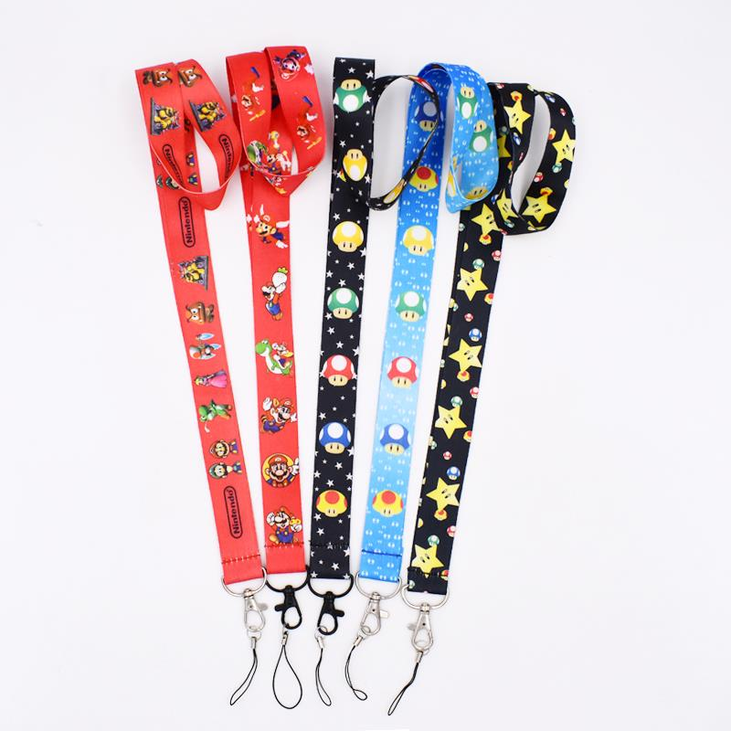 5Styles Super Mario Bros Lanyard Keys Mobile Phone Chain Neck Strap