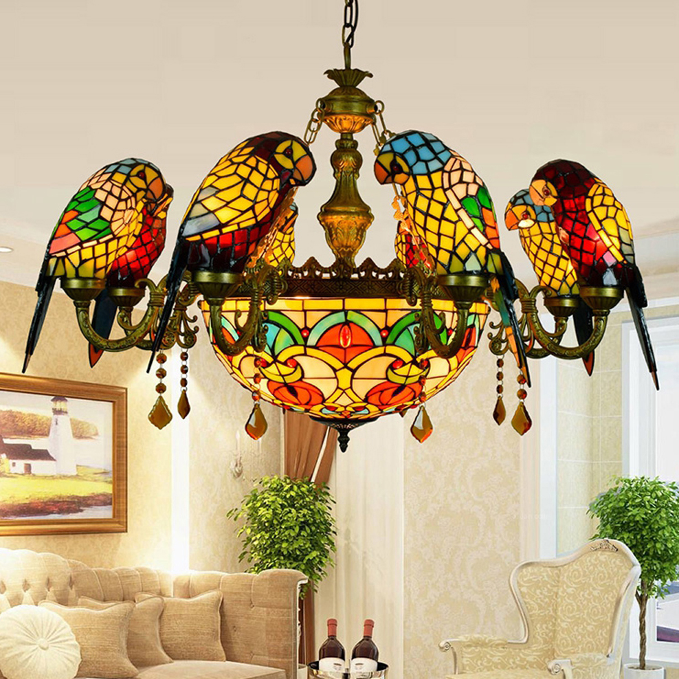 Led E27 Tiffany Glass Zinc Alloy Parrot Led Lamp Led Light