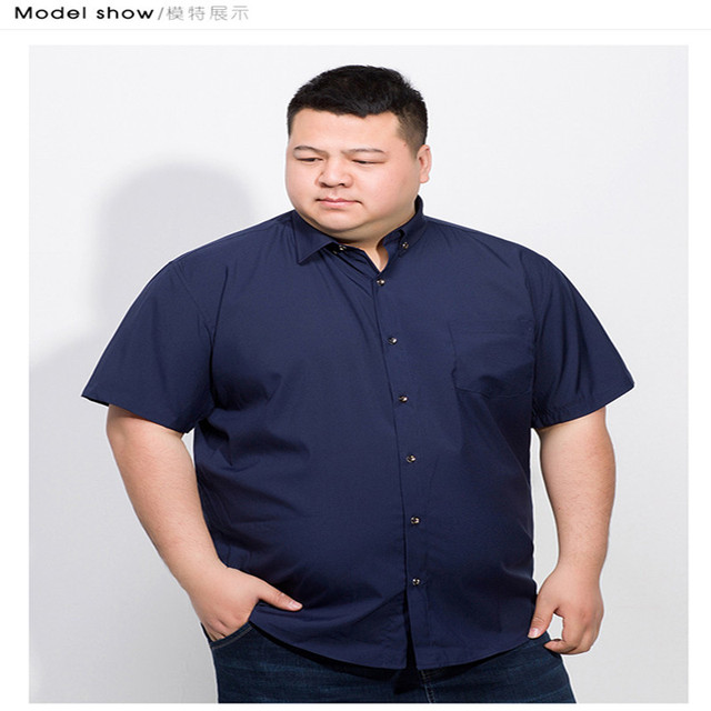 Plus 10XL 8XL 6XL 2018 Cotton Men Short Sleeve Solid Business Working Shirts Casual Shirt Oxford 1