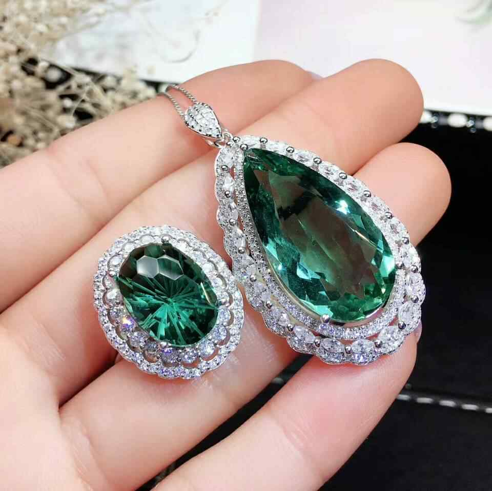 MeiBaPJ Top Shining Natural Brazil Green Crystal Jewelry Set Real 925 Sterling Silver Ring Necklace Fine Siut Wedding Jewelry