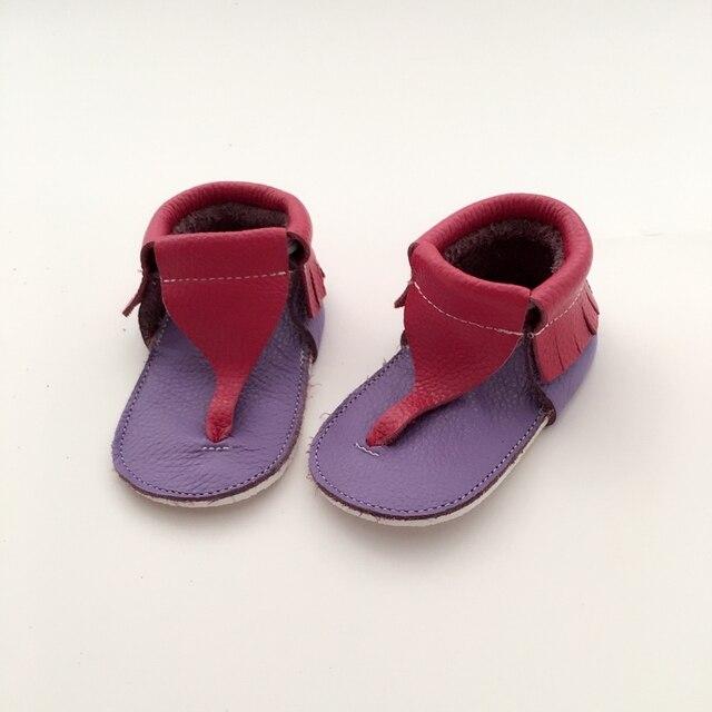 Ручной розовый и Лаванды Ребенка Первые Ходоки Натуральная Кожа Детская обувь