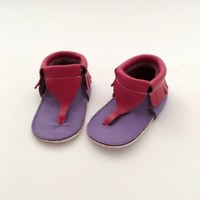 Handmade Rose pink&Lavender Baby First Walkers Genuine Leather Infant shoe