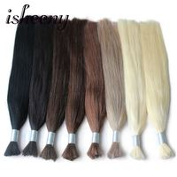 Isheeny 14 18 20 22 Remy Braiding Human Hair Bulk Straight Black Brown Blonde Natural European Hair Weft 100g