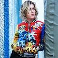 2016 Mulheres Jaqueta de inverno Para Baixo casacos projeto curto para baixo casaco feminino de moda do doodle personalizado fino uniforme de beisebol outerwear