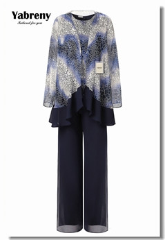 Yabreny Dark Navy Printcloth Chiffon Mother of the Bride Pants suit 3PC MT001701
