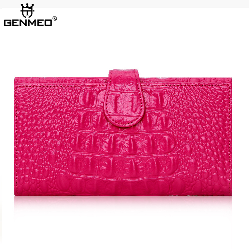 купить MAIFEINI New Arrival Genuine Leather Wallets Women Long Fashion Handbags 2017 Sexy Ladies Crocodile Leather Bags Bolsa недорого