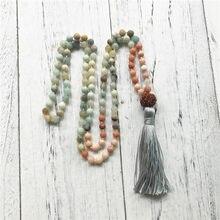Collier de perles Mala noué, 108 perles de méditation, Amazonite mate et Aventurine rose, pour Courage, joie et vérité