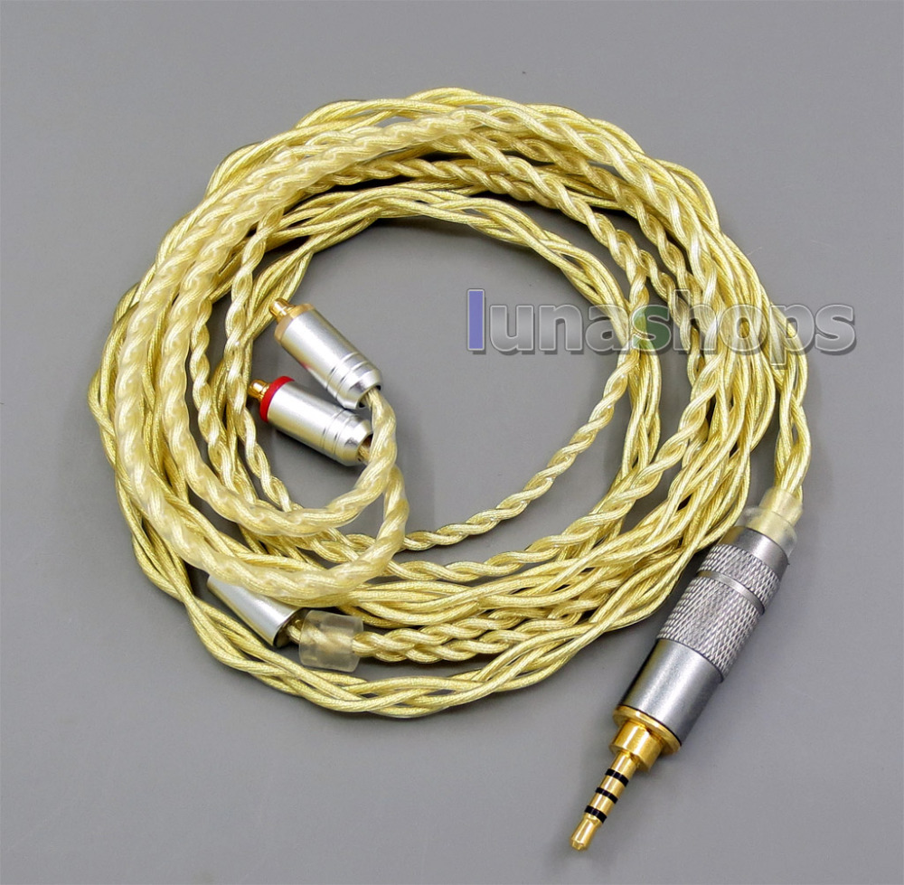 2.5mm Extremely Soft 7N OCC Pure Silver + Gold Plated Earphone Cable For Shure se535 se846 se425 se215 MMCX LN005948 800 wires soft silver occ alloy teflo aft earphone cable for shure se215 se315 se425 se535 se846 ln005408