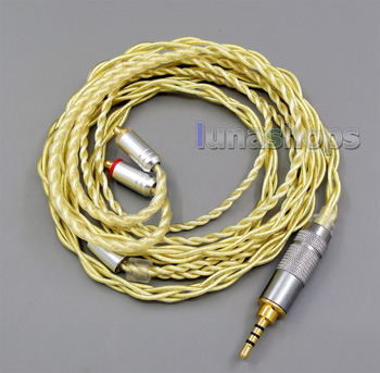 2.5mm Extremely Soft 7N OCC Pure Silver + Gold Plated Earphone Cable For Shure se535 se846 se425 se215 MMCX LN005948