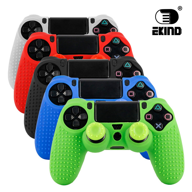 EKIND 2 in 1 Studded Anti-slip Silicone Rubber Cover Skin Case for Sony PlayStation 4 PS4 DS4 Pro Slim Controller with 2 Caps