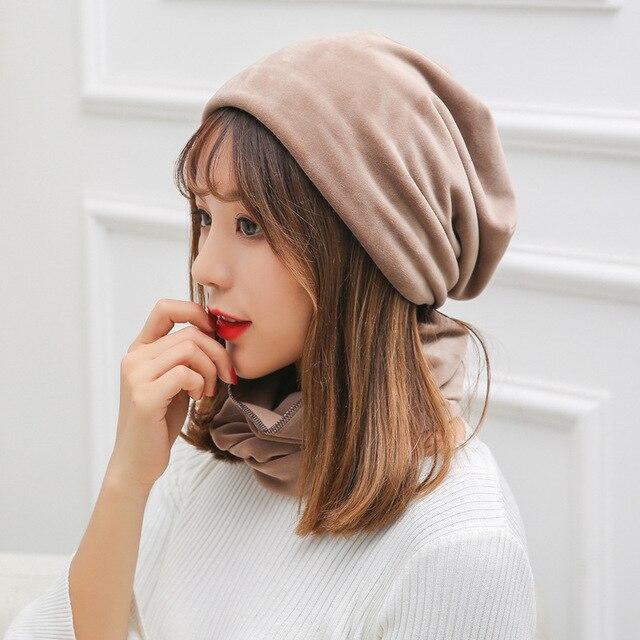 51fc082ddabc3b 2018 newest fashion winter hats scarf set women casual Skullies cap female  rochet unisex warm elasticity