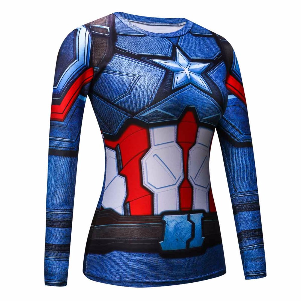 Fitness Compression Shirt Captain America 3D Printed T-shirts women Long Sleeve Cosplay Costume Clothes girl's Tops Shirts