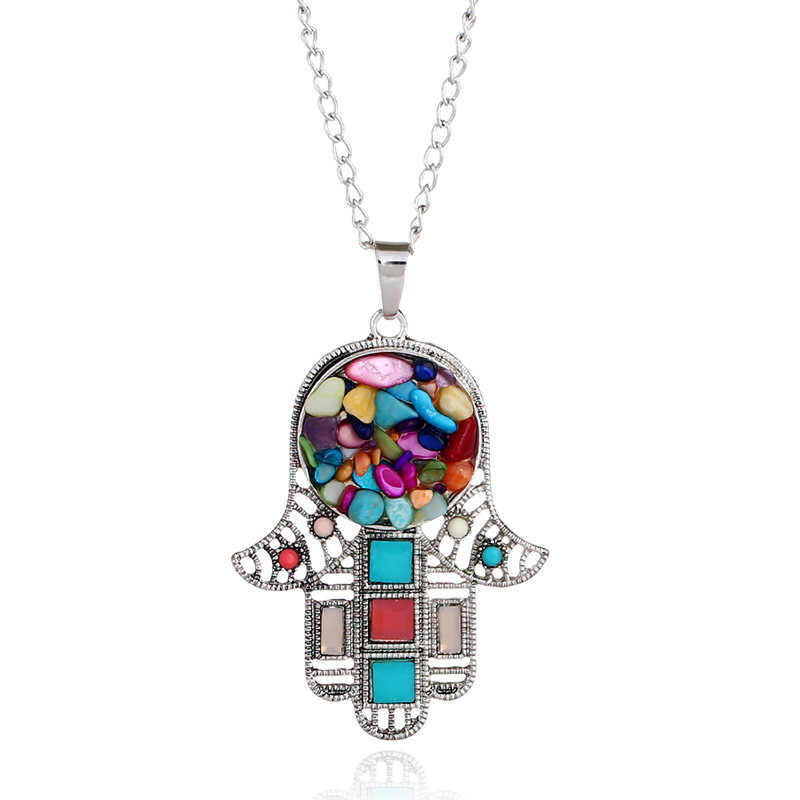 New Design Bohemian Classic Hamsa Fatima Hand Necklace Pendants Vintage Colorful Stone Palm Sweater Chain Boho Jewelry for Women