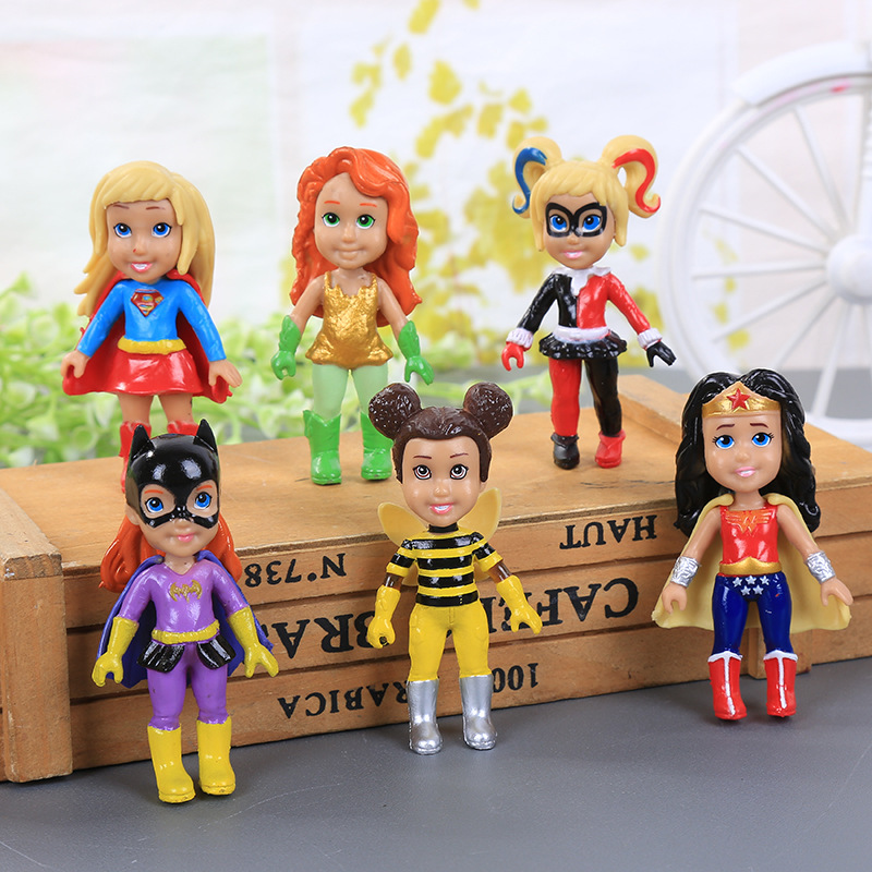 6Pcs/set New Anime Super Girl Wonder Hero Woman Doll Toy PVC Action Figures Statue Collection Model Doll Toys For Kids 7.3cm kawaii pikachu dinosaurs action figures toy 144pcs set pvc anime animals collection figurine kids hot toys for boys gift opp bag