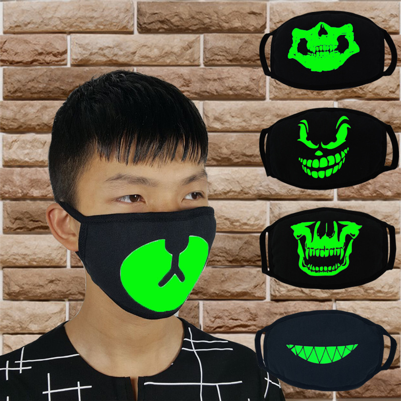 Han Thick A Fluorescent Luminous Mask Cool Tide Terrorist Skull Teeth Halloween Cold Breathable Nan Nv Black Cotton Batch