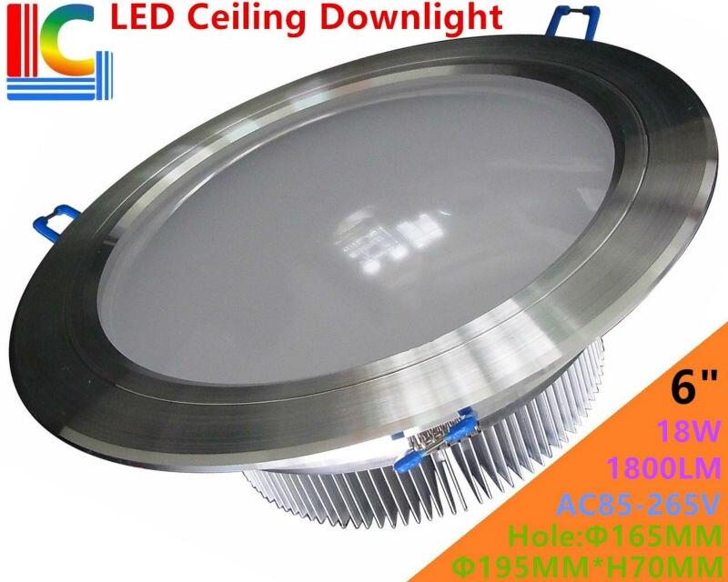Ультра-яркий 6in. 18 Вт Downlight AC85-265V 110 В 220 В высокое Мощность встраиваемый потолочный светильник ce Spotlight для домашнего освещения
