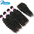 3 Bundles Brazilian Deep Wave With Closure 8A Grade Virgin Unprocessed Human Hair With Closure Deep Wave Brazilian Hair Bundles