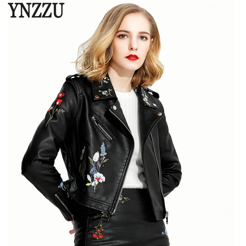 YNZZU New Autumn Women Leather Jacket Chic Floral Embroidery Vintage Short Leather Coat Outwears Zipper Women Basic Jacket YO309