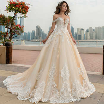 Loverxu Sweetheart Ball Gown Wedding Dress Chic Appliques Beading Off The Shoulder Backless Bride Dress Chapel Train Bridal Gown - DISCOUNT ITEM  30% OFF All Category