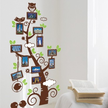 Creative Design Roommates Scroll Cute Owl Photo Frame Tree L Stick Wall Decal Kindergarten 60