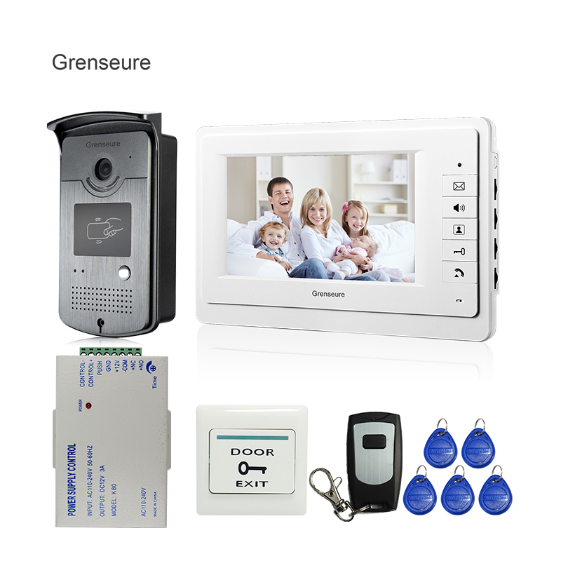 купить FREE SHIPPING New 7 inch Color Screen Video Door Phone Doorbell Intercom System 1 RFID Access Camera 1 White Monitor In Stock дешево