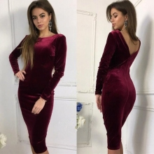 Womens velvet Dress 2019 Long Sleeves V back Fashion Elegant Knit Dresses Sexy Slim Party Bodycon Knee velvet Dress