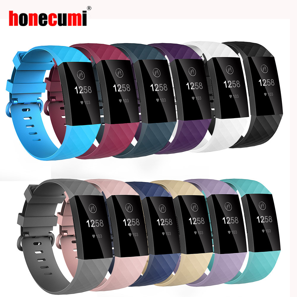 Honecumi Sport Bands For Fitbit Charge 3/4 Band TPU Smart Watch Strap Small Large Accessories Wristband For Fitbit Charge 3