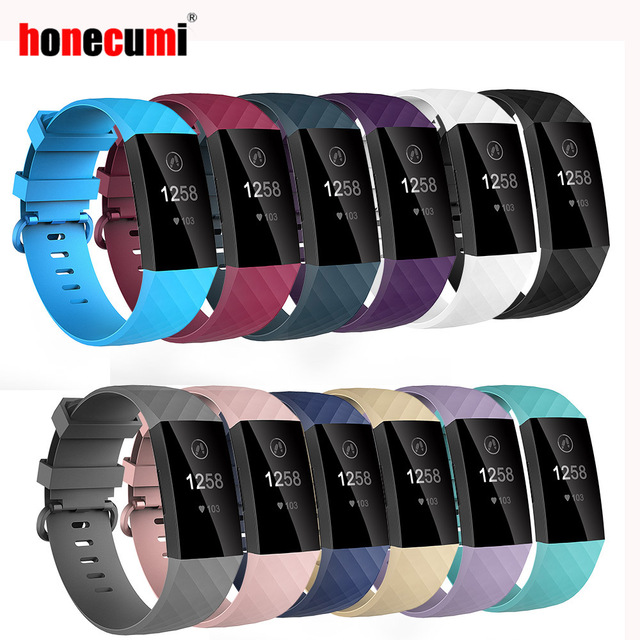 Honecumi Sport Bands for Fitbit Charge 3 Band TPU Smart Watch Strap Small Large Accessories Wristband For Fitbit Charge 3