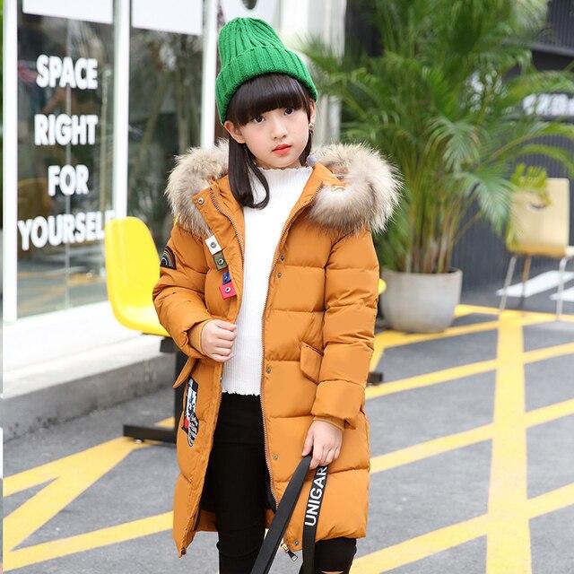 2017 Обувь для девочек утка Пух Куртки пальто длинные модели Мода Девочка Зима Пальто и пуховики пуховик теплая куртка детская верхняя одежда с натуральным мехом