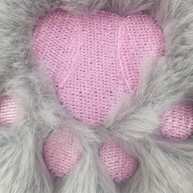 Fofo Fur Pom Pom Chaveiros Novo Bordado de Pelúcia Pata de Urso Pompom Pingente Anel Chave Chaveiro Carro Chaveiro Feminino bolsa Pingente