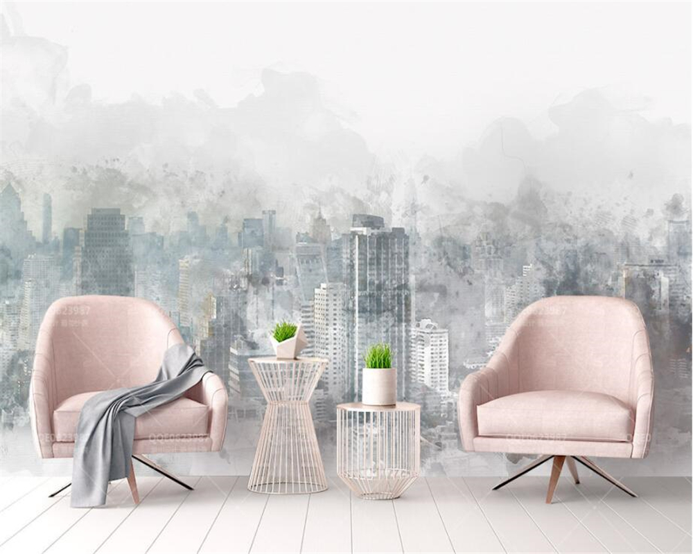 beibehang Modern home background decorative wallpaper fashion watercolor hand painted city landscape TV backdrop 3d wallpaper