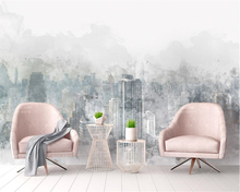 beibehang Modern home background decorative wallpaper fashion watercolor hand painted city landscape TV backdrop 3d