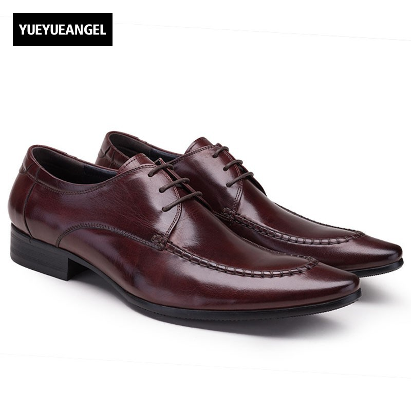 England Style Classic Men Business Leather Formal Shoes Pointed Toe Lace Up Oxfords Genuine Leather Wedding Dress Shoes Big Size classic men s genuine leather shoes cowhide leather pig inner pointed toe derby dress wedding business shoes 2018 fashion