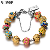 REAMOR Gold Plated Crystal Enamel Flower Bead Pan Style Bracelet 316l Stainless Steel Snake Chain With