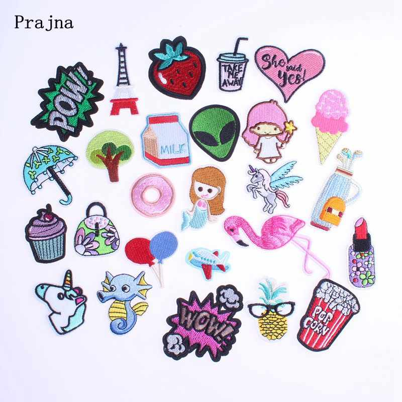 fab53d72821d Prajna Cartoon Sew On Patches Cute Milk Popcorn Wow Patch Iron On Cheap  Anime Clothes Stickers Embroidery Patches For Clothing