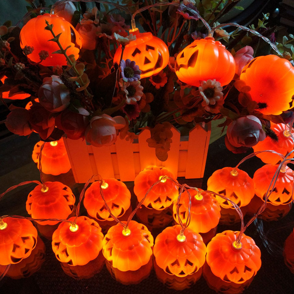 Led Halloween Lights Us 19 25 Halloween Lights Pumpkin Shape String Lights 10 20 Led Solar Lamp Outdoor Backyard Decoration 12v Lights Garden Party Lighting In Led