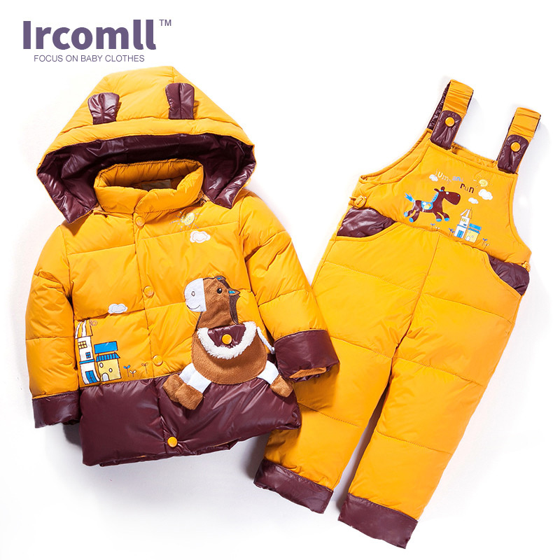 2017 Russian Winter Warm Waterproof Baby Boy Clothing Sets Down Children Jacket Girl Coat Overall Kids Clothes Set new baby set 2015 winter baby girl clothes cartoon coat thick warm coat pants warm winter outerwear jacket clothing sets