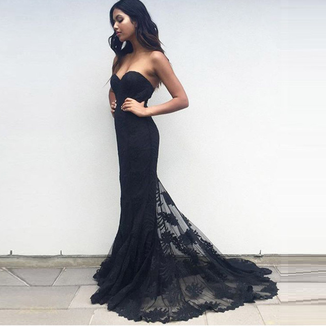 Elegant Long Black Lace Gown Mermaid Evening Dress Abayas Off The ...