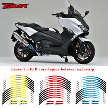 Hot sell Motorcycle front&Rear Edge Outer Rim Reflective Sticker 15inch Wheel Decals For YAMAHA TMAX