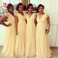 2016 Africa Plus Size Cheap Bridesmaid Dresses For Wedding Vintage Light Yellow A Line Tulle V Neck Cap Sleeve Free Shipping