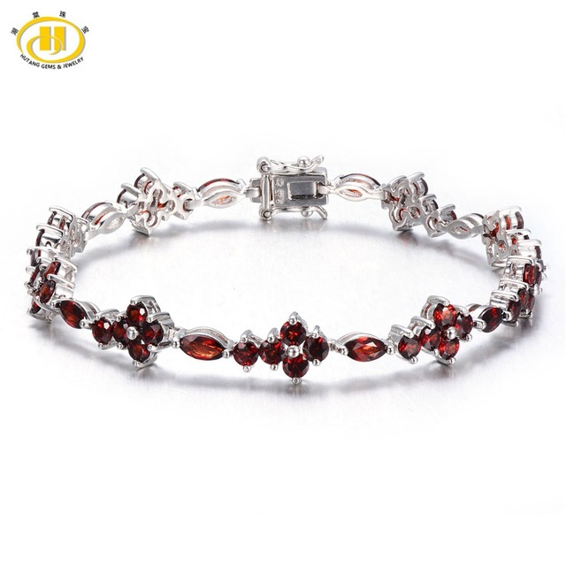 Hutang Brand Gemston Jewelry Natural Garnet Bracelets Bangles For Women Solid 925 Sterling Silver Tennis