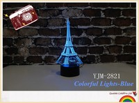 YJM 2821 Wholesale Made in China Night lights Eiffel Tow Shape Visional Lights Seven Changeable Colors Effect for Home Decor