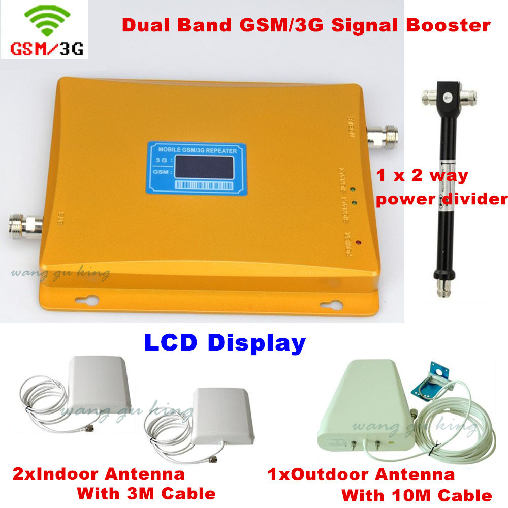 Full Set Cover 2 ROOM GSM 900 WCDMA 3G 2100 Signal Repeater Cell Phone Signal Booster Log Periodic Antenna + Celling Antenna