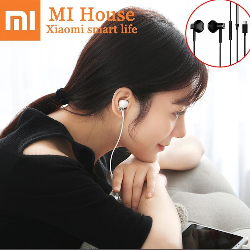Xiaomi słuchawki douszne w słuchawki USB typu C przewód sterowania słuchawki hi-res Audio mikrofon dynamiczny Mijia podwójny jednostka zestaw słuchawkowy Mic