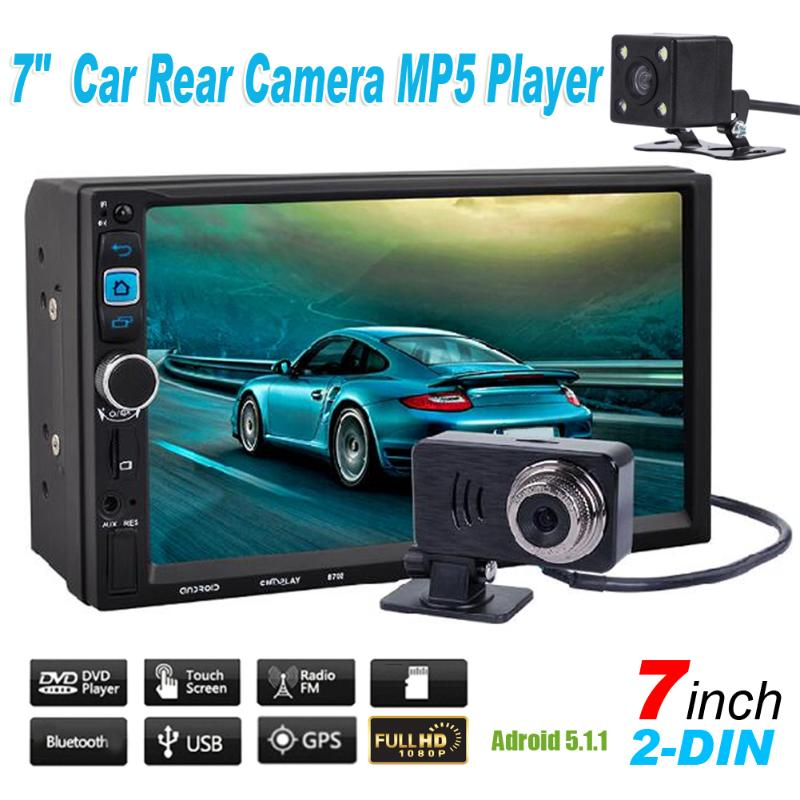 7 1080P Touch Screen 2 DIN Car MP5 Player Android 5.1.1 Bluetooth Stereo Video Player Radio Remote Control w/ Rear View Camer