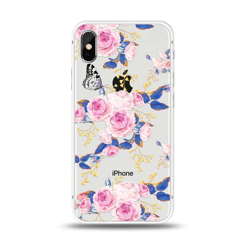 KIPX1027I_1_JONSNOW For iPhone 7 Flowers Pattern Soft Case For iPhone 6 6S 7 8 Plus Clear Back Cover for iPhone 5 5S SE Capa Coque Fundas