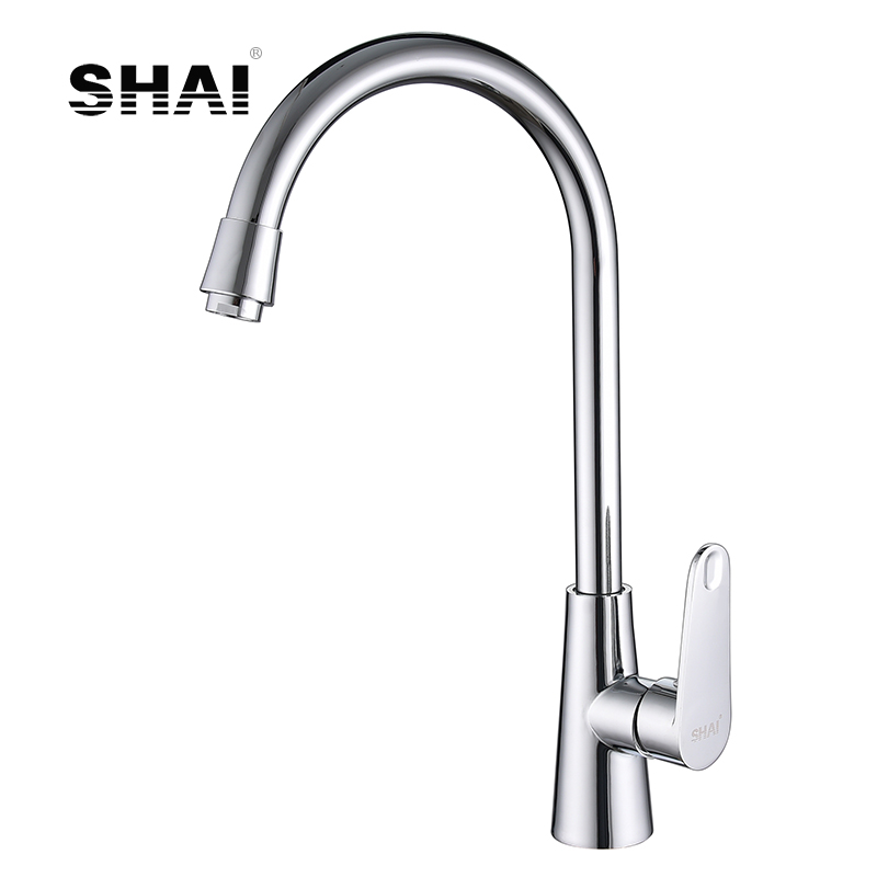 SHAI Chrome Finish Kitchen Faucet Hot & Cold Water Tap 360 Degree Rotation Torneira Cozinha Mixer Brass Ontology Angle SH3208