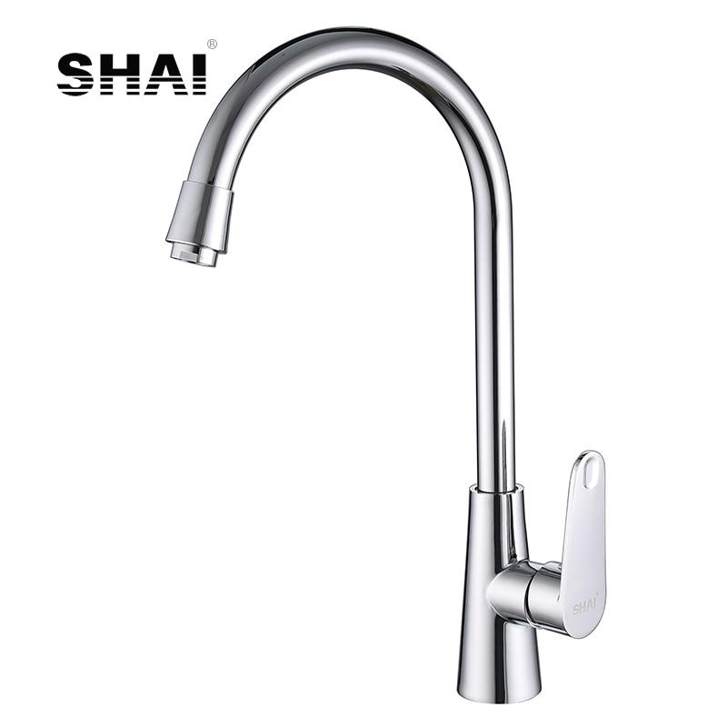 SHAI Chrome Finish Kitchen Faucet Hot & Cold Water Tap 360 Degree Rotation Torneira Cozinha Mixer Brass Ontology Angle SH3208