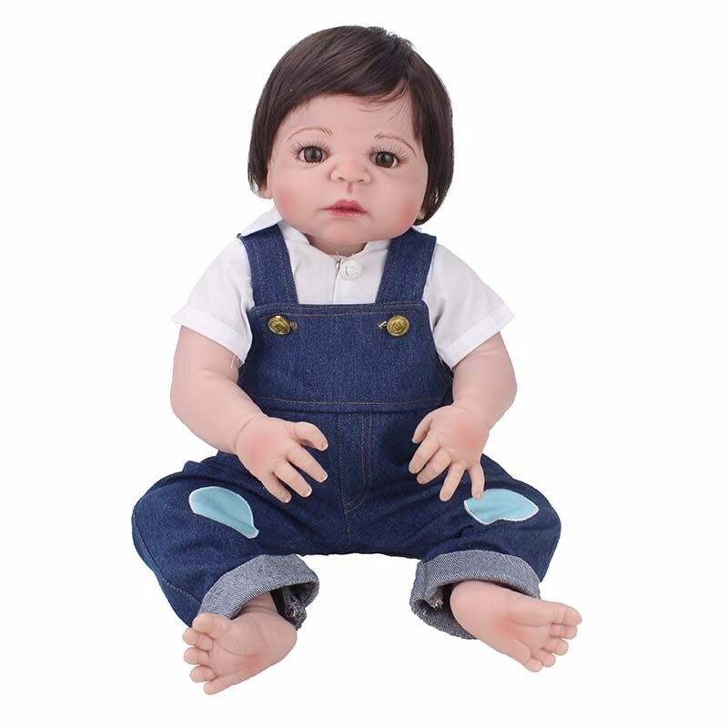 55 cm réel bébé blanc chemise avec Reborn bébé poupée Silicone vinyle corps simuler garçon bébé Reborn bambin poupée jouet pour enfants cadeau