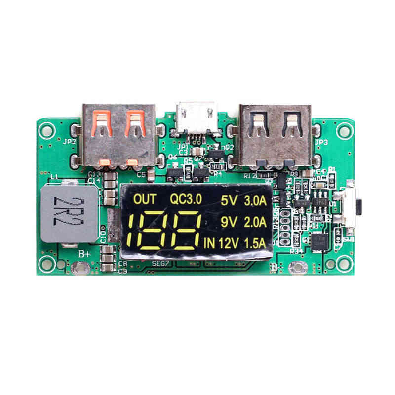 Hot AMS-Boost 5V High Pass Qc3.0 Fast Charging Press Board With Digital Power Display Mobile Power Circuit Board